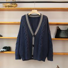 韩国V领毛衣开衫女装大款加厚韩版宽松百搭日系洋气针织外套秋冬