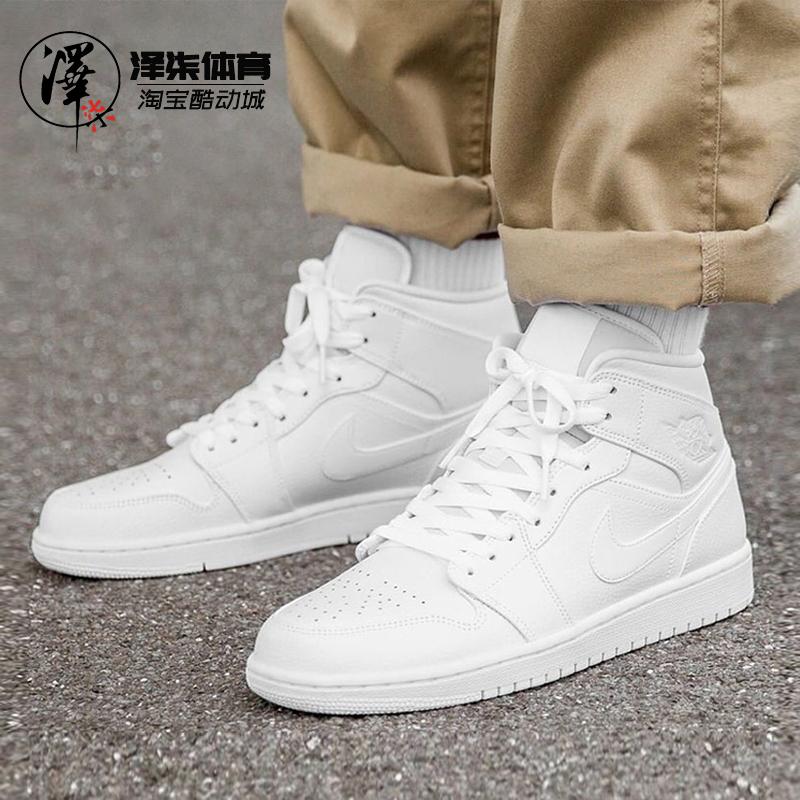 AIR JORDAN 1 LOW AJ1纯白中帮低帮男女鞋554724-126  553558-130图片