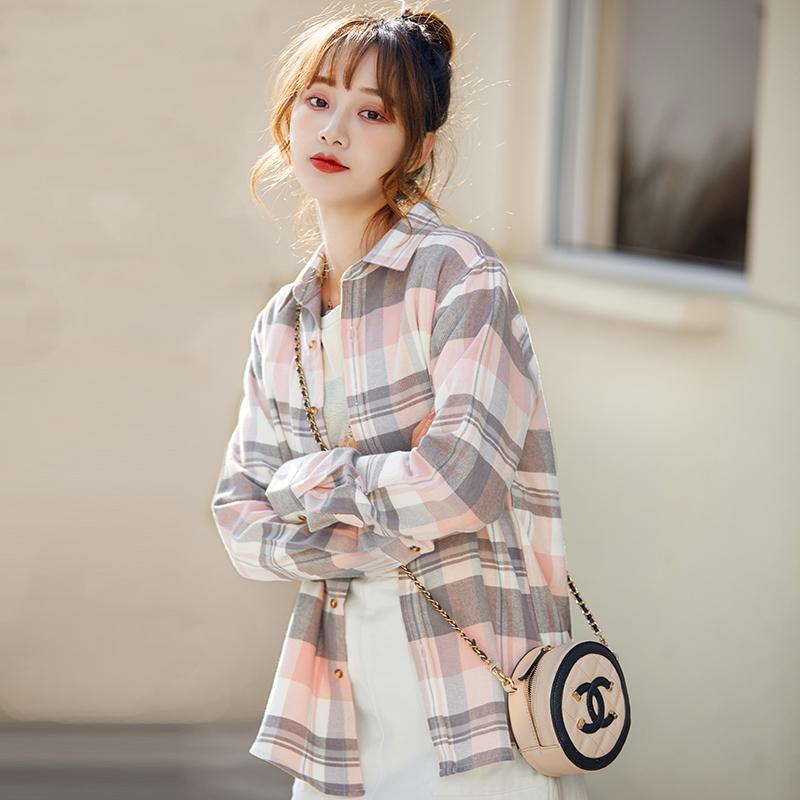 纯棉格子女长袖新款宽松复古衬衫