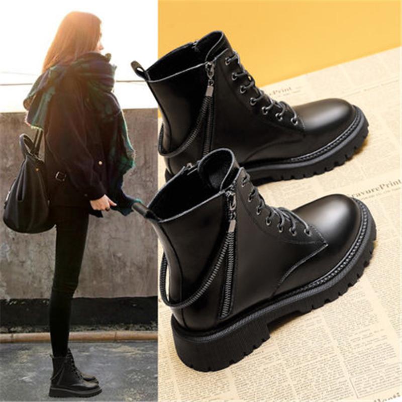 韩版女鞋2021秋新款马丁靴橡胶厚底休闲鞋学生鞋短靴时尚女鞋