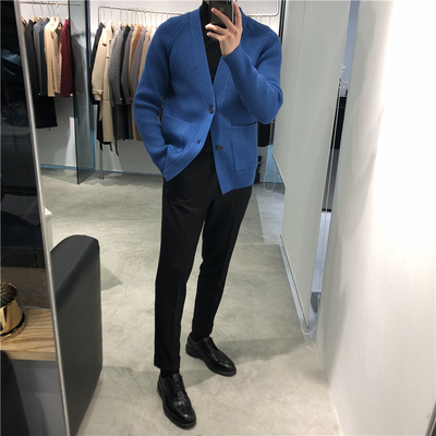 2019冬季新款加厚针织开衫毛衣男士英伦潮流韩版青年港风毛衣外套