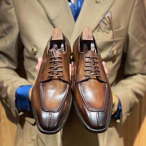 英伦自制欧美休闲正装低帮皮鞋男擦色意大利商务牛皮鞋真皮鞋子潮