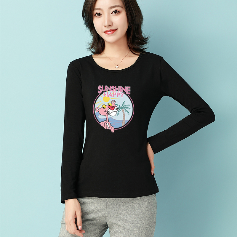 2021 spring new cotton loose size long sleeve T-shirt womens Korean version with base coat and round neck T-shirt