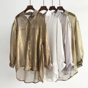 亮面超薄大版防晒衬衫 慵懒宽松大码中长款女夏季长袖防晒披肩