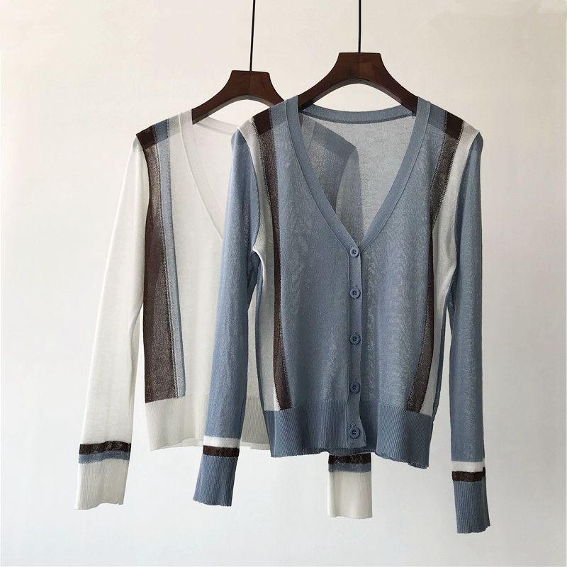 三拼假坎肩薄款开衫 显瘦短款长袖小外套 空调披肩 女 夏季 包邮