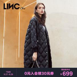 LINC金羽杰2020秋季新款棒球领中长款轻薄薄款羽绒服女2083436