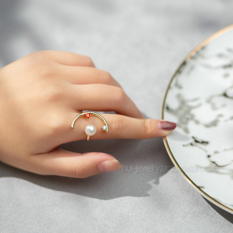 Original design 925 Sterling Silver gold-plated fashion atmosphere pearl ring personalized creative stage ring girlfriends gift