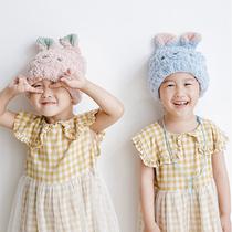 日式可爱儿童干发帽日本女童卡通吸水速干韩国公主浴帽宝宝包头巾