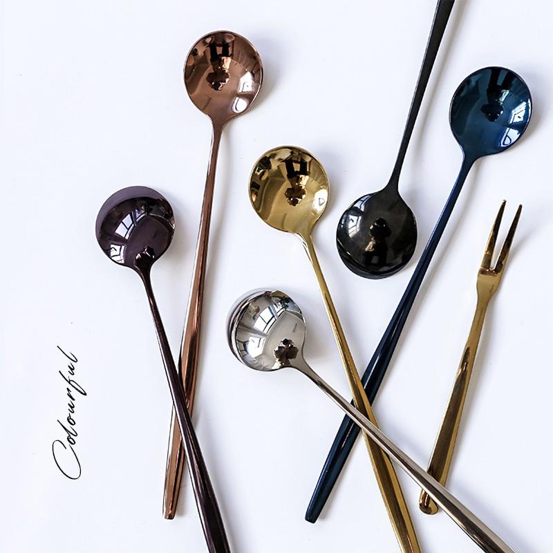 北欧简约不锈钢304冰勺 家用甜点长柄勺韩式实心镀金搅拌咖啡勺
