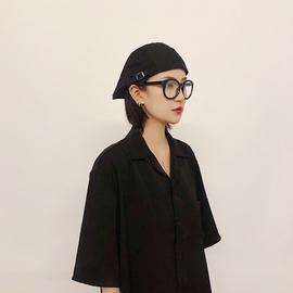 韩国ins复古画家文艺贝雷帽男士女街头潮短檐黑色英伦前进帽子