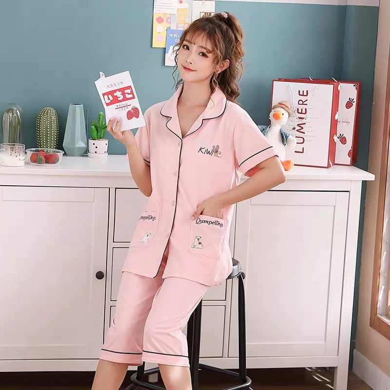 Short sleeve womens pajamas Suit Shorts cardigan home wear solid color large size loose pure cotton Summer Cotton cool fabric