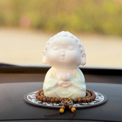 汽车摆件如来佛像可爱陶瓷车载车上装饰用品禅意小佛男保平安佛像
