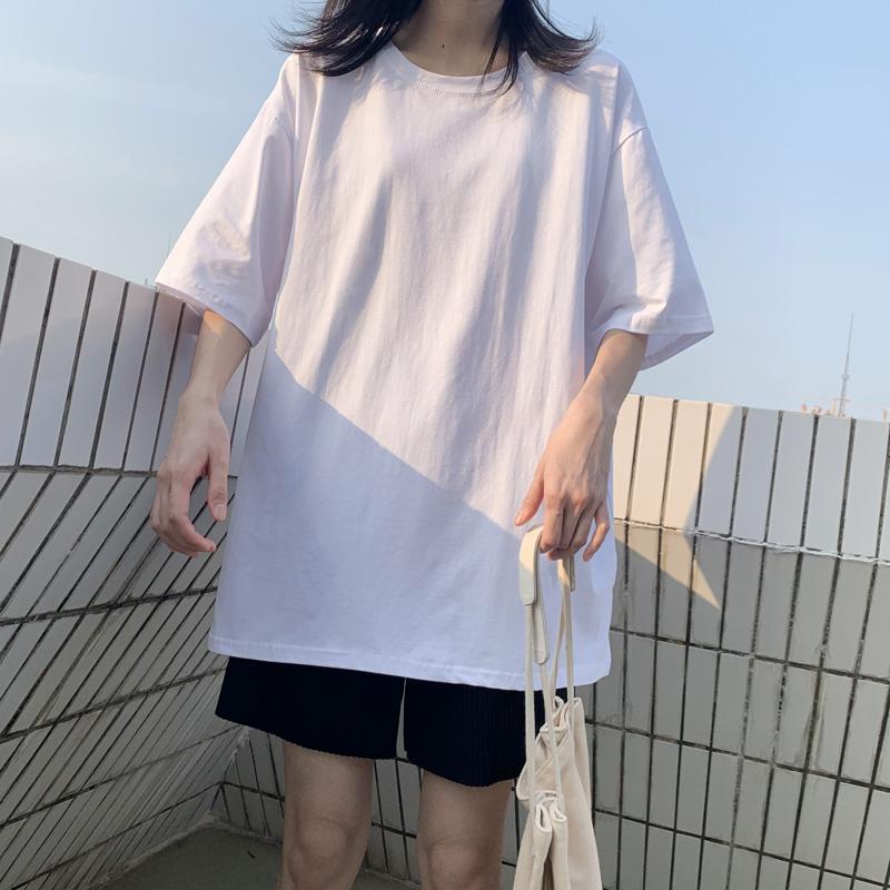 2020夏装新款白色t恤长袖潮打底衫