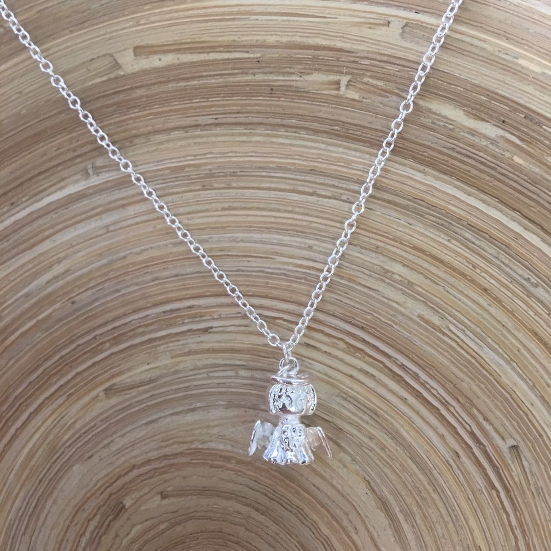 Little angel baby necklace silver jewelry lovely graduation gift from her classmates
