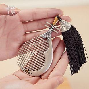 足銀999純銀飾品銀梳子按摩刮痧髮梳插梳琵琶梳子 送人禮品