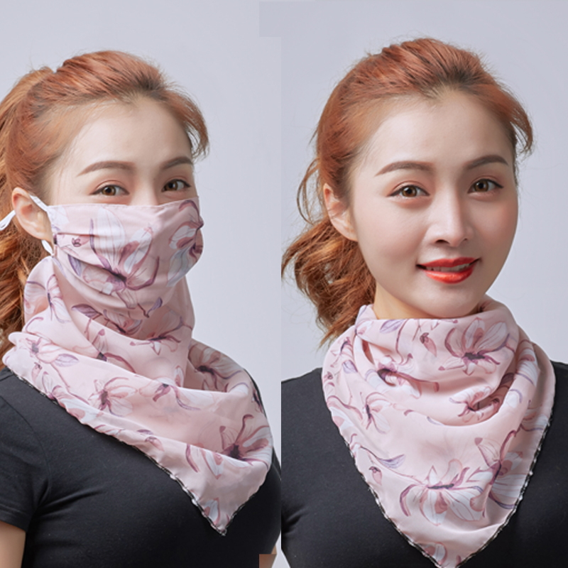 Sunscreen mask womens thin neck mask Chiffon Scarf one piece UV proof breathable dust-proof veil spring and summer