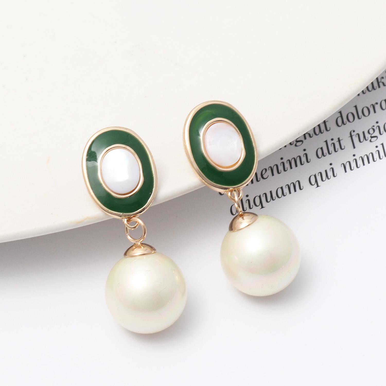 欧美风饰品 椭圆形滴釉镶嵌白贝壳精美韩国珍珠时尚耳钉 耳环