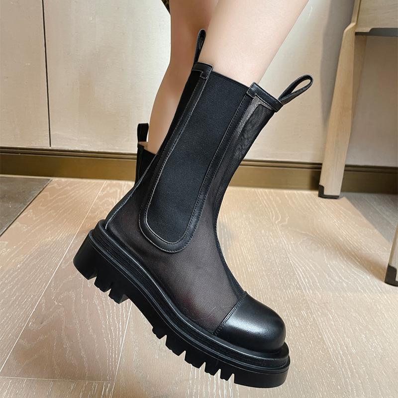厚底网纱马丁靴女2021夏季薄款网靴透气镂空网面真皮凉靴网眼短靴