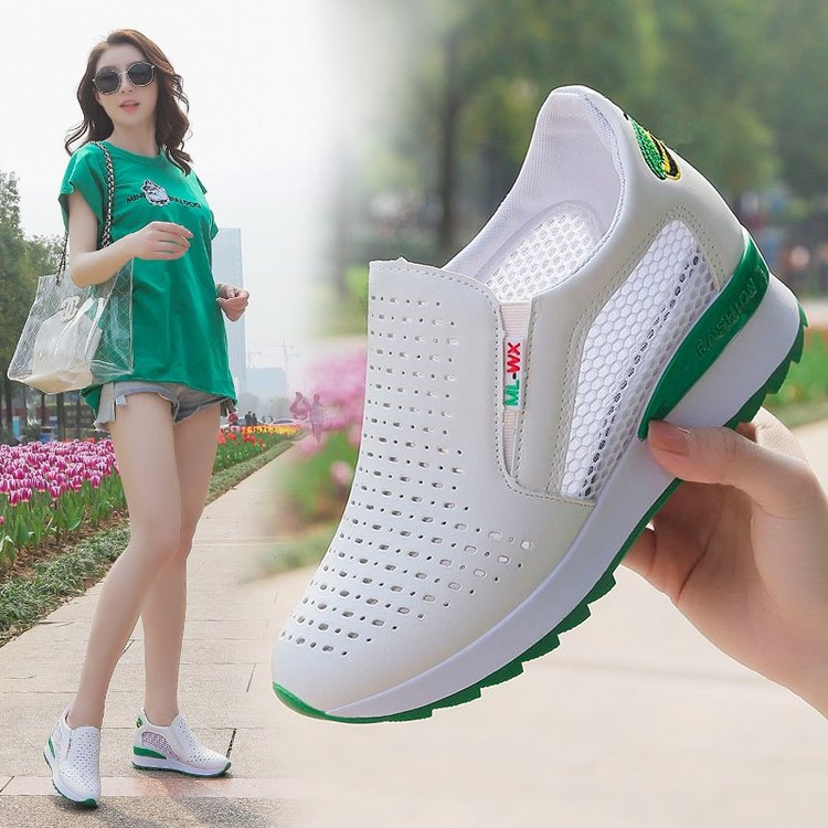 Net shoes slope heel womens shoes spring and summer 2020 new Korean hollow out small white shoes versatile casual inner increase breathable single shoes