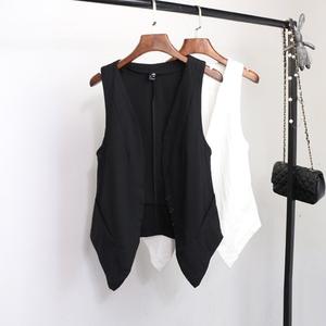 黑色小马甲背心夏外穿棉麻女装外搭亚麻上衣宽松显瘦短款外套洋气