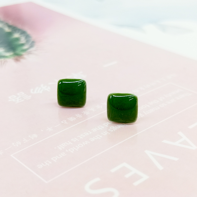 Simple temperament S925 pure silver hand-made ceramic block Earrings female fashion retro small anti allergy head ornament