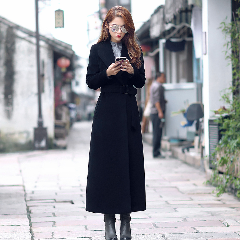 Square collar pure wool tweed coat womens 2021 winter work dress lace up super long slim fit cashmere professional wool coat