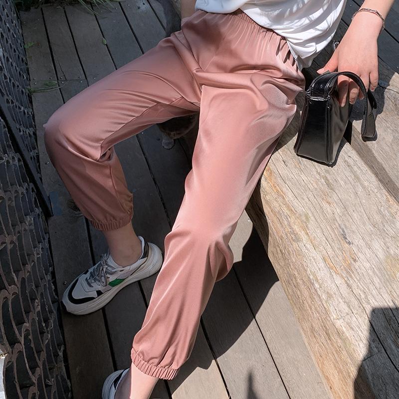 孙大欣2020夏季新款女装薄款防蚊裤显瘦直筒皱皱冰丝阔腿裤灯笼裤