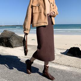 孙大欣针织高腰后开叉半身裙女2020秋冬新款包臀显瘦中长款打底裙图片