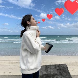 孙大欣 薄款羊羔毛拉链卫衣外套女2020春季新款韩版宽松