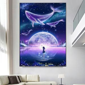 钻石画2020新款卡通唯美风景鲸鱼女孩贴钻十字绣客厅儿童卧室满钻
