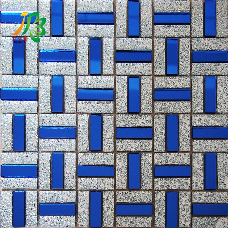 1548mm宝石蓝镜面银钻玻璃马赛克沙发ktv电视背景墙瓷砖家装主材