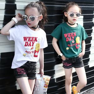 女童短袖t恤2020新款儿童白色纯棉丅恤半袖中大童夏装小女孩夏天图片