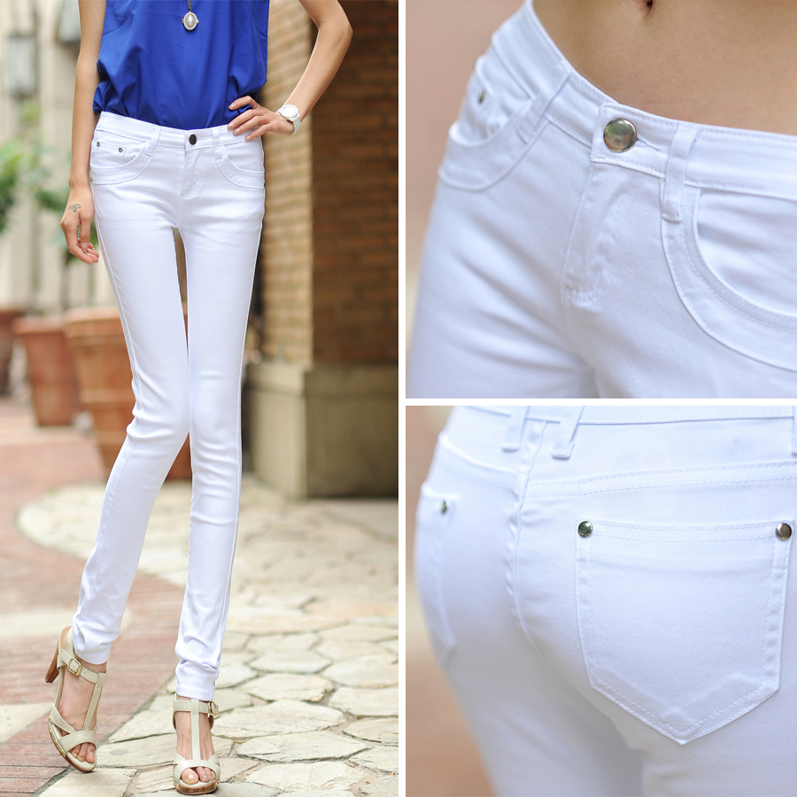 White jeans children 2020 spring and Autumn New Korean high waist slim elastic large size small foot pencil pants