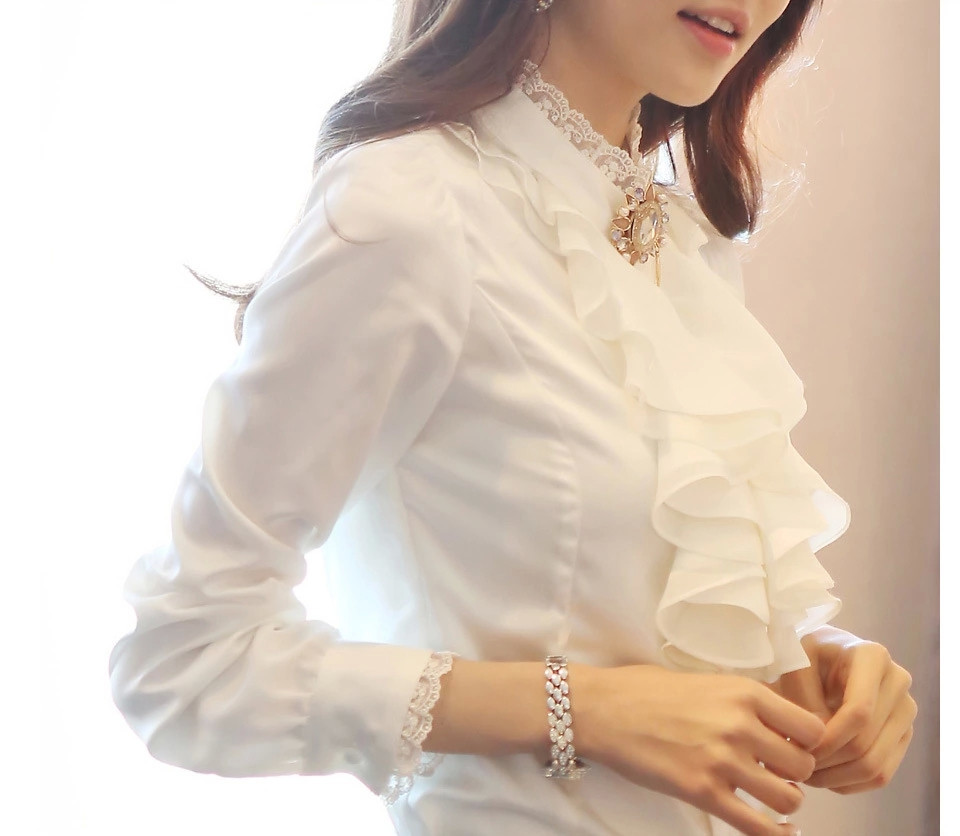 Spring and summer new professional blouse long sleeve stand Collar Chiffon shirt Ruffle half high collar womens inch lining