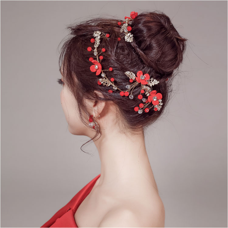 Bridal headdress red hair band Korean wedding three piece set hair ornament Chinese ancient costume Toastmasters accessories plate hair ornament