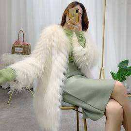 海宁冬季新款狐狸毛编织皮草外套女中长款修身貉子毛车条毛毛大衣图片