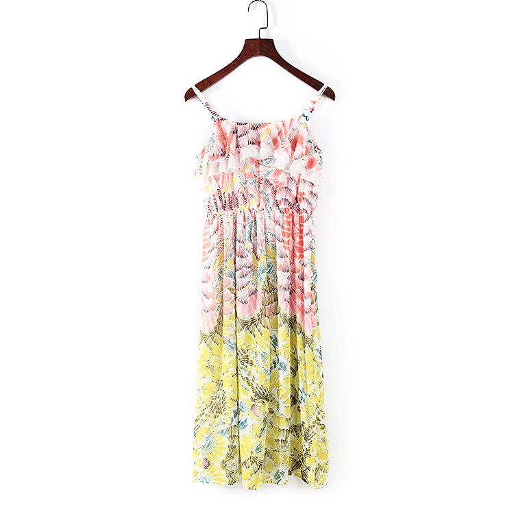 谷系列 春夏新款女装剪标折扣库存吊带花色雪纺淑女可爱 连衣裙