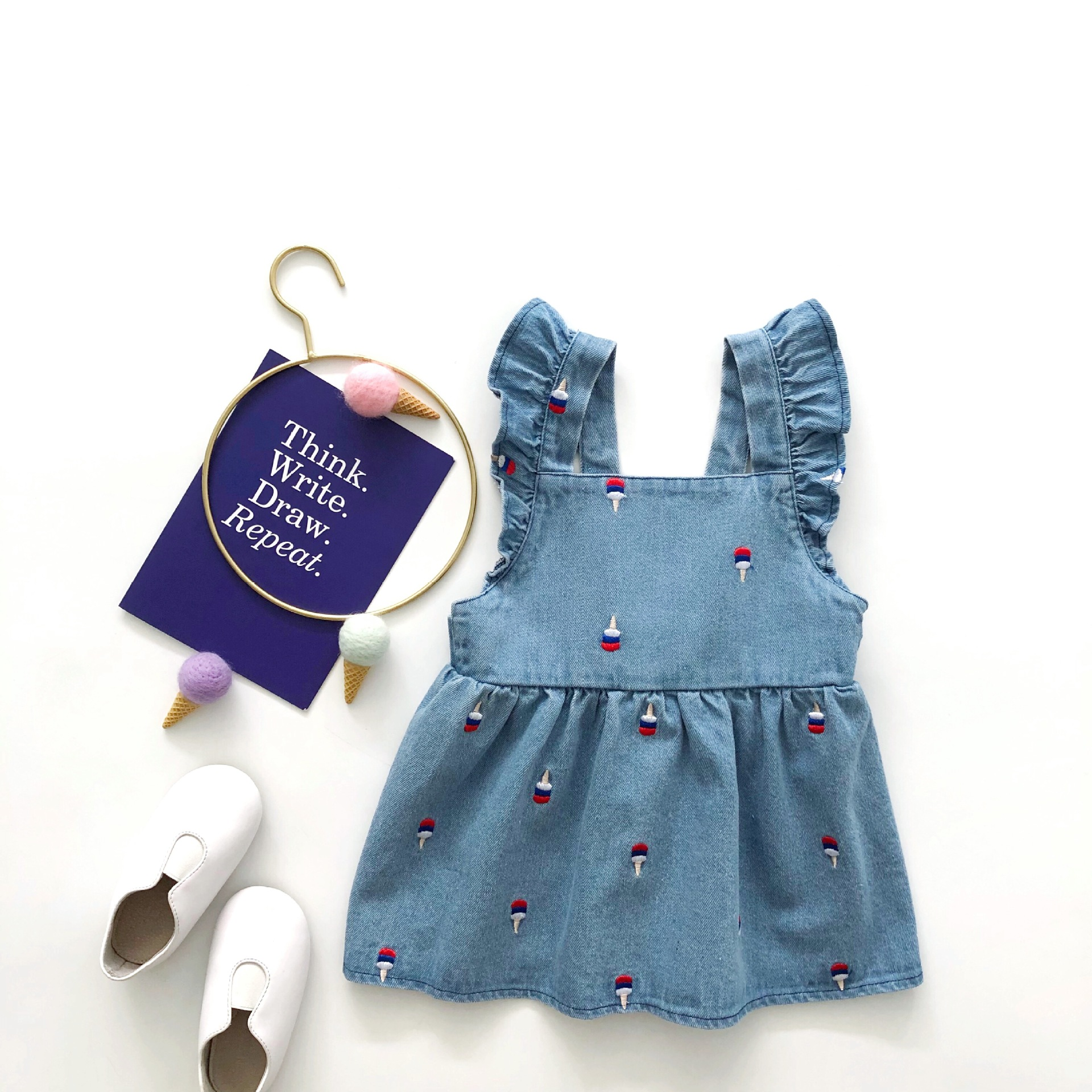 Angel summer new embroidered blue denim dress ice cream denim dress