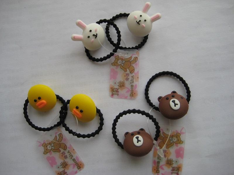 小熊小猫小黄鸡小白兔小发绳扎小辫头绳成人儿童发饰皮套皮�h2枚