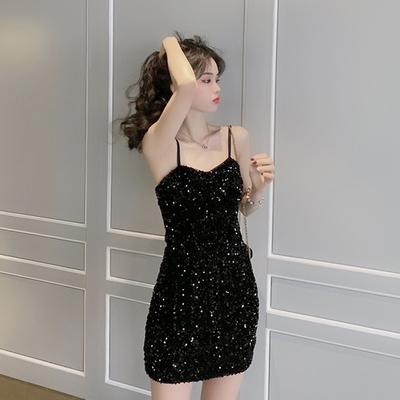 2020春季新款韩版性感亮片吊带连衣裙女收腰显瘦包臀裙气质裙子黑