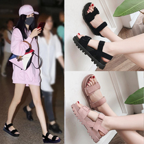 2DZG9新款专柜同款亮片仙女风一字带细跟高跟女凉鞋2019百丽纯爱