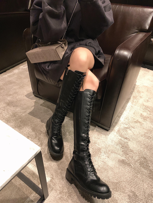 钱夫人网红绑带长筒靴女不过膝胖mm粗腿小个子骑士靴黑色高筒皮靴
