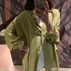 钱夫人长款防晒衬衫女2019新款夏设计感小众薄款衬衣韩版长袖上衣图片