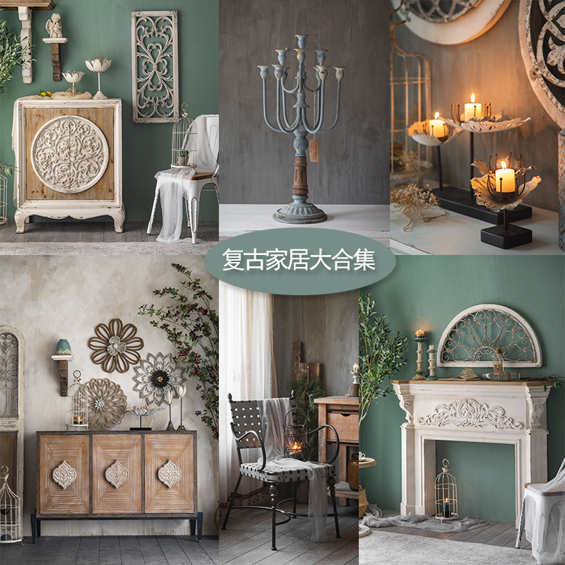 [retro carved home collection] romantic style old furniture decoration wall mounted mirror homestay clothing store
