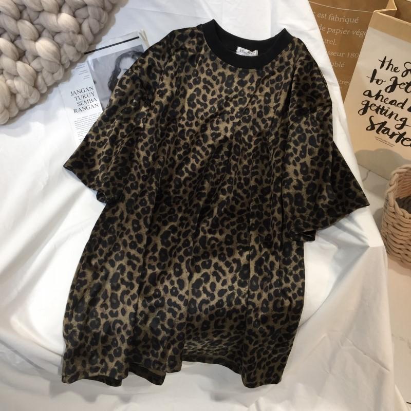 豹纹短袖t恤韩版新款圆领潮打底衫(用1元券)