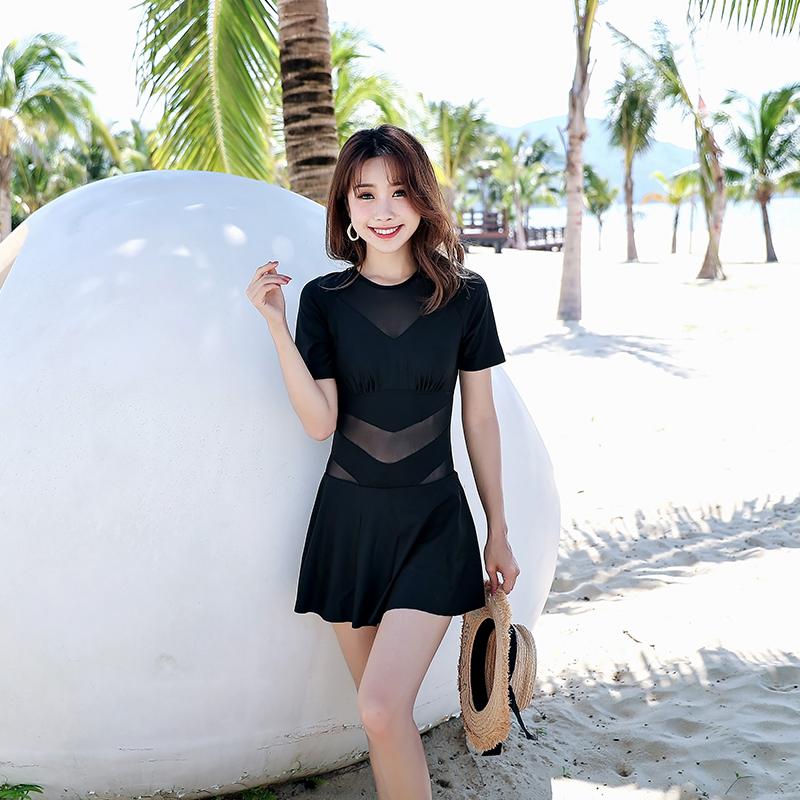 泳衣女遮肚显瘦保守2020新款韩国ins裙式黑色性感大码连体游泳衣
