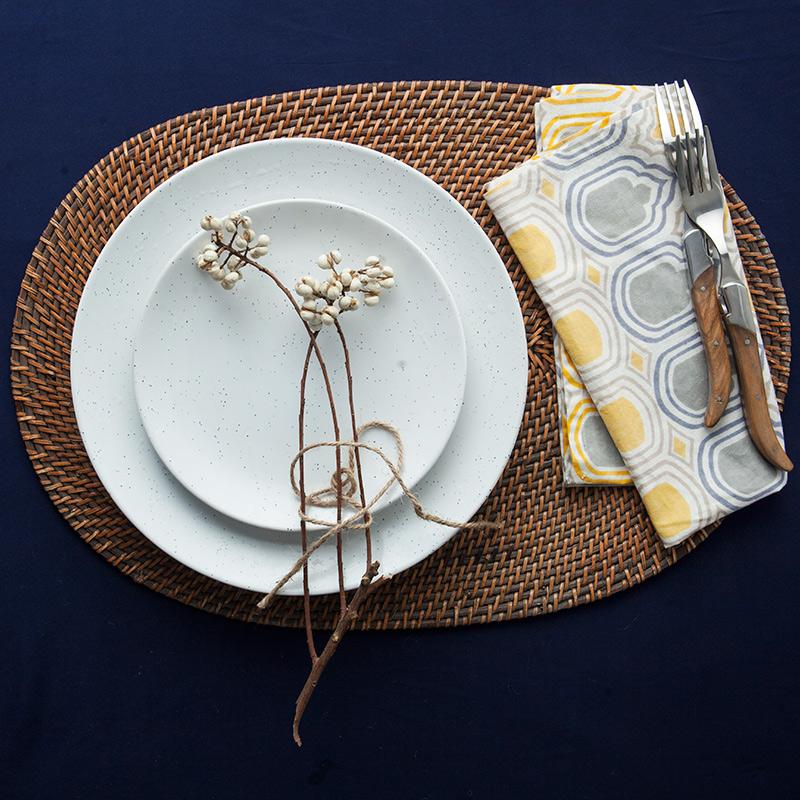 Цветок, бутон мы японский ротанг круглый лоток домой творческий ручной большой размер чай блюдо чашки завтрак пластина