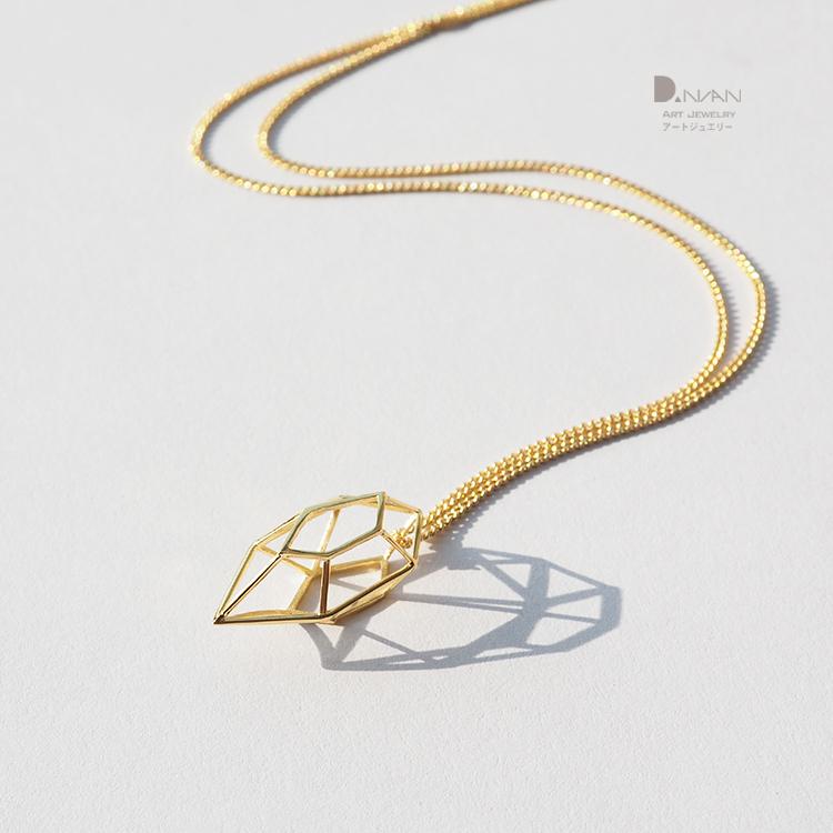 丹念首饰原创设计几何镂空钻石项链手工925银简约百搭女礼物生日