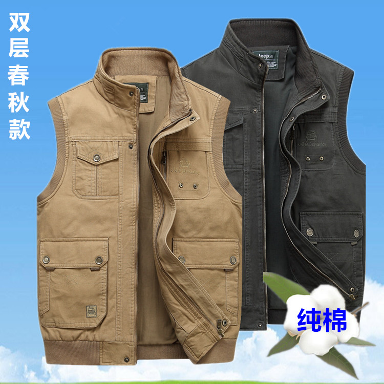 New middle-aged and elderly mens Vest pure cotton stand collar loose spring and autumn vest Multi Pocket outdoor Vest Large pure cotton
