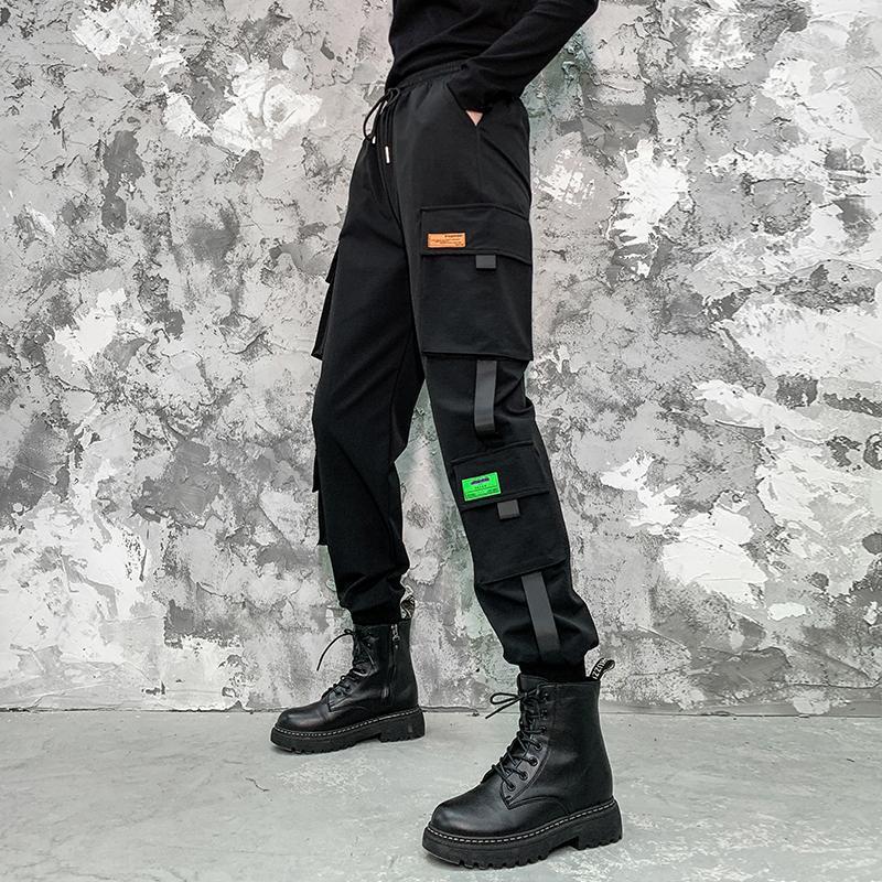 2020秋冬季束脚工装裤女显瘦帅气潮流ins炸街不对称运动休闲长裤